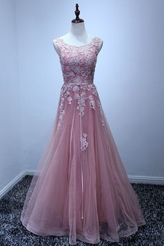 long prom dress ,pink prom dress ,scoop prom dress,tulle prom dress with lace ,A line prom dress · Butterfly Love · Online Store Powered by Storenvy Prom Dresses Long Pink, Open Back Prom Dresses, Formal Dresses For Teens, Elegant Prom Dresses, Best Prom Dresses, Tulle Prom Dress, Beautiful Prom Dresses, Prom Party Dresses, Bridesmaid Dresses