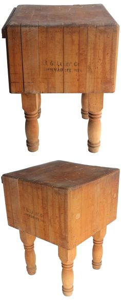 """LOVE :: Maple Butcher Block Table (Vintage) :: $1269, Estimated Market Value $1900 :: [25""""L x 24.5""""W x 34""""H] Style: farm / rustic / French / industrial. Vintage original maple butcher block table. Made in USA. :: LOOOOOVE IT!"""