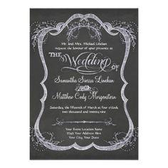 Chalkboard Typographic Leaf Swirl Rustic Wedding Announcement