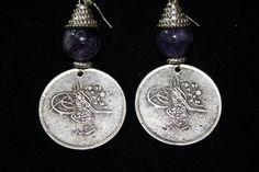 Amethyst Bead Coin Earrings  $ 65.00