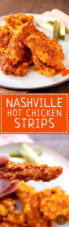 Nashville Hot Chicken Strips:   Traditional Nashville hot chicken is all the rage these days, but you don't have to go all the way to Tennessee to get it. Thanks to a simple (and dare-worthy) chili oil, you can make it at home! I like to make chicken strips with it, but you could use it on full pieces also! Get ready to sweat! | macheesmo.com