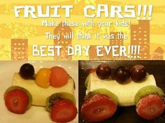 Fruit Cars you can make with your children Tons of fun! Cute Fruit, Best Day Ever, Good Food, Fun Food, Watermelon, Pudding, Breakfast, Desserts, How To Make
