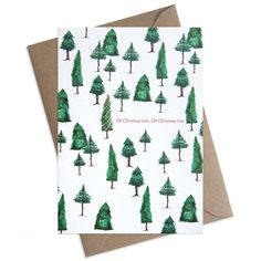Paper Parade Stationers illustrated Christmas festive greeting card with woodland of pine trees and Christmas trees pattern.