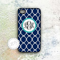 Monogram preppy navy blue iphone 4 in case by ColorsAndFriends, $16.99