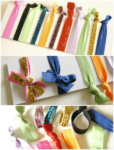 DIY elastic hair ties...I love the one's that I have bought but to be able to make them would be awesome! She even shares a link to a website where the elastic is $0.45 a yard in tons of colors!