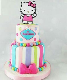 Torta hello kitty Hello Kitty Theme Party, Hello Kitty Birthday Cake, Baby Girl Birthday, Kitty Party, Hello Kitty Fondant, Torta Hello Kitty, Cupcakes, Cupcake Cakes, Shoe Cakes