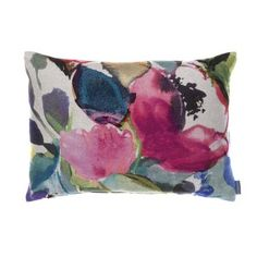 Bluebellgray Chloe cushion - Chloe features signature abstracted watercolour brushstrokes in a palette of purples, blues and greens with a floral influence and is named after Fi's pretty and vibrant niece.