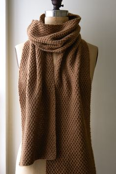 """Double seed stitch scarf, purl bee. Co45. R1: K1, *p1, k1, rpt to end. R2: Rpt R1. R3: K2, *p1, k1 rpt to last stitch, k1. R4: Rpt R3. Rpt R1-4 until 78"""" from co edge, ending R3. Bo in pattern."""