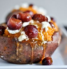 Roasted Grapes with sweet Potatoes with Goat Cheese and honey