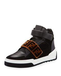 Fendi Zucca Grip-Strap High-Top Sneaker