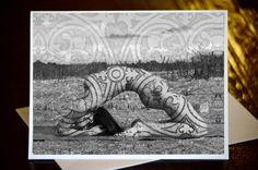 Kapotasana ~ King Pigeon Yoga Pose - Tattoo - Curated Greeting Card & Envelope - Description on Back with Original Art by Deprise by DepriseDesigns on Etsy