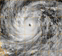 This U.S. Naval Research Laboratory satelllite image Wednesday shows Supertyphoon Vongfong in the Western Pacific Ocean. The most powerful storm of 2014 was swirling toward Japan. Its eye was around 600 miles (965 km) south-southeast of Kadena Air Base on Okinawa, moving west-northwest at about 8 mph (12.8 kmh). Its maximum sustained winds were estimated at 165 mph (265.5 kmh). | AFP-JIJI