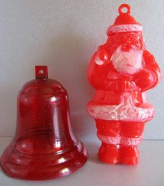 Vintage 1950's CHRISTMAS Ornaments - IRWIN Plastic SANTA & Bell by MADsLucky13, $8.00