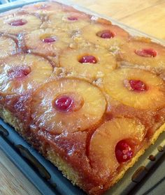 Ingredients: 1/4 cup unsalted butter 1 cup packed light brown sugar 1 can (20 oz) pineapple slices in juice, drained, juice reserved 1 jar (6 oz) maraschino cherries without stems, drained 1 box Betty Crocker Super Moist yellow cake mix Vegetable