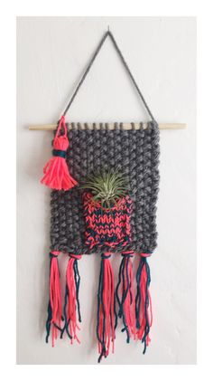 Knitted Wall Hanging with Airplant Bohemian Home by HUXENandCo