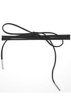 "Black faux suede tie wrap choker matchstick necklace in black. 3/4"" x 70""."