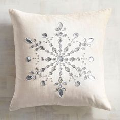 Velvet Snowflake Pillow Soft, slouchy velvet pillow with a sparkly rhinestone snowflake. Other details: A solid ivory back and hidden in-seam zipper. Velvet Pillows, Diy Pillows, Decorative Pillows, Throw Pillows, Snowflake Pillow, Silver Christmas Decorations, Christmas Cushions, Christmas Room, Christmas Quilting