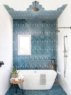 tiny bathroom makeovers: add standout tile to your floor, walls, and ceiling Bathroom 12 Small Bathroom Makeovers That Make the Most of Every Inch Bathroom Renos, Bathroom Renovations, Bathroom Interior, Modern Bathroom, Bathroom Makeovers, Boho Bathroom, Bathroom Ideas, Master Bathroom, Blue Bathroom Tiles