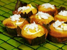 Mini Bibingka:  add cream cheese and salted duck eggs (grated coconut optional)