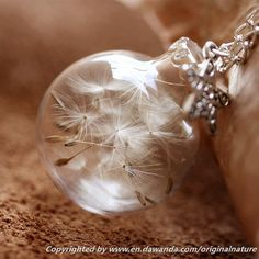 Dandelion Necklace, Nature Pendant,Glass Jewely