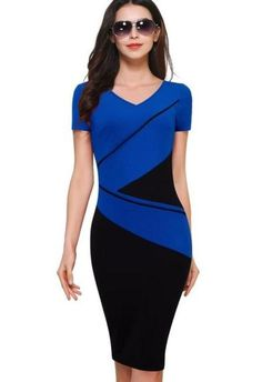 790ed0521c89 Vintage ColorBlock Patchwork V-Neck Bodycon Dress