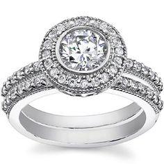 Round Moissanite Antique Bezel Halo Wedding Ring Set