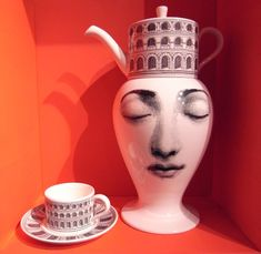 """""""Tea Time"""", white vase with teapot on the head and teacup - Piero and Barnaba Fornasetti's designs for Italian company Bitossi Ceramiche"""