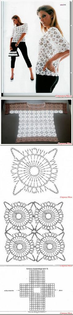Blusas con motivos ronda método de tricotar no separada.
