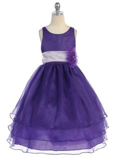 Purple 3 Layered Organza Pick Your Sash Flower Girl Dress (Infants to Girls Size 12) - Flower Girl Dresses - GIRLS