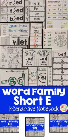 This is a Word Family Interactive Notebook to help students practice and learn CVC words and word families. There are 22 different activities for each Short E word family to help your students master the word family. You may choose which activities are be