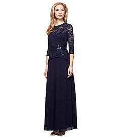 840cda1c107 Alex Evenings Mock TwoPiece Lace Gown  Dillards MOB Mob Dresses