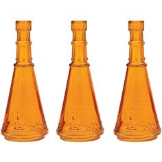 Small Vintage Glass Bottle (6.75-Inch, Marguerite Design, Orange, Set... ($9.25) ❤ liked on Polyvore featuring home, home decor, colored bottles, colored glass bottles, cultural intrigue, glass centerpieces and glass medicine bottles