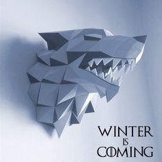 37cm Game Of Thrones House Stark Winterfell Direwolf Head Paper Folding Model Toy Puzzle Winter Is