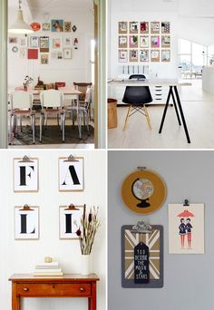 Clipboards used instead of frames & other creative photo display ideas // At Home in Love