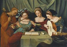 Three Young Women Making Music with a Jester. Master of Female Half-lengths (Netherlandish, active 1530-1540 in Antwerp). Oil on oak panel. Like in other paintings attributed to the Master of the Female Half-lengths, music-making ladies in lavish costume bedecked with ornaments and jewels are depicted in the present painting. A flautist, a lutenist and a singer form the principal figure group in the work.