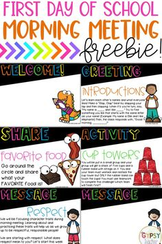 FREE Morning Meeting Slides - First Day of School - Social-Emotional Learning - Start your school year on the right foot with these FREE First Day of School Morning Meeting slides - Morning Meeting Activities, Back To School Activities, School Ideas, 4th Grade Classroom, Classroom Meeting, Beginning Of School, First Day Of School, Responsive Classroom, Social Emotional Learning