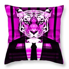 Tiger Throw Pillow by Filip Aleksandrov pink pillows geometric pillows custom print pillow