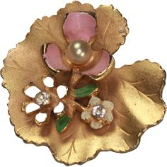 Vintage Lily Pad Pin  with Flowers Faux Pearl Rhinestones offered by Ruby Lane Shop, Splendors of the Past. #LilyPad