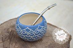 Mate mandala, en cerámica de gres.  gildatomasini.blogspot.com.ar facebook.com/Argilda