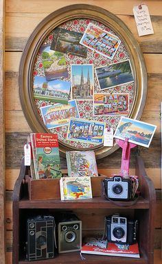 Tack Board Tutorial:  My handmade tack board is a perfect spot to display the 1940s postcards I am offering for sale inmy new SoNo Market Place stall. It wassuper easy to make. Here's how...