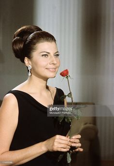 Close-up of the Princess of Iran Soraya (born Soraya Esfandiary-Bakhtiari), the second wife and Queen Consort of the late Shah of Iran, next to a bunch of long stem red roses in her house in the Appia Antica near Rome; in this city she has begun her career as a movie star. Rome (Italy), 1964..