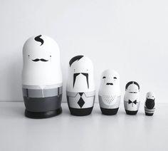Nesting Dolls Men Folk Black and White Matryoshka by SketchInc