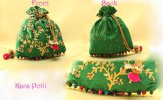 Pitta: Green Raw Silk Potli With Pita and Gota Embroidery Price: 1500 Rs