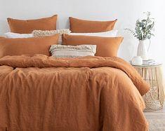Orange duvet cover king   Etsy Orange Duvet Covers, 100 Cotton Duvet Covers, Orange Bedding, Boho Bedding, Duvet Bedding, Cotton Bedding, Boho Duvet Cover, Comforter Cover, Textured Duvet Cover