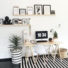 Striped #workspacegoals + regram from Cholè @love_siiarirose in Australia ✖️▫️✖️ What an eye catching workspace this one is! Shelves overflowing with monochrome prints, a lovely trestle table from @mockaaustralia and a black + white striped rugThe @executiveconcepts storage bag as a plant holder is a cool idea too Thanks Cholè for inspiring us with your striking workspace today