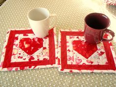 Valentine Quilted Mug Rug Wall hanging hot pad wall by AuntiJoJos, $15.00