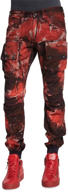 PRPS Bleach Out Paint-Brushed Denim Jeans, Red