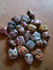 Heads waiting to be made into bracelets, by Mary-Lynne Moffatt