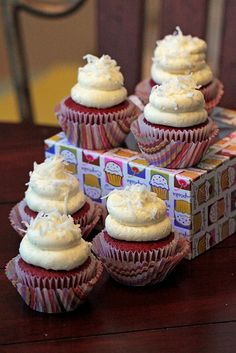 Red Velvet Cupcakes with Coconut Pudding Cool Whip Frosting