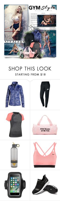 """""""Work It Out: Gym Essentials"""" by perplexidadesilencio ❤ liked on Polyvore featuring The North Face, NIKE, ban.do and Belkin"""